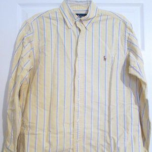 Ralph Lauren Yellow Blue & White Stripe Top 15 1/2